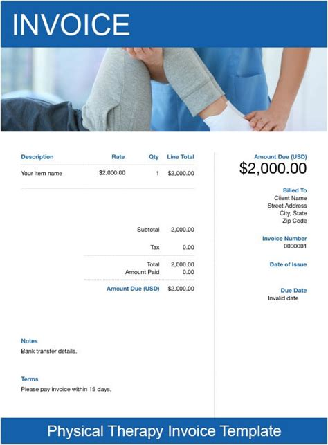 physical therapy invoice template resume examples