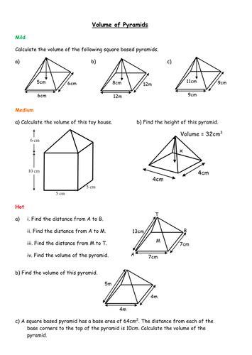 volume of pyramids worksheet worksheets tutsstar