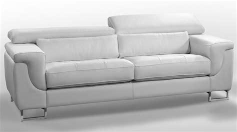 canapé design cuir blanc 3 places canapé pas cher