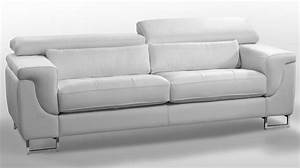 Canape design cuir blanc 3 places canape pas cher for Canapé cuir blanc design
