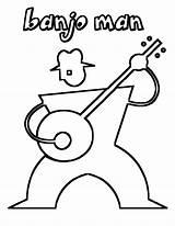 Coloring Banjo Guitar Printable Acoustic Musical Instrument Boys Printables Amazing sketch template