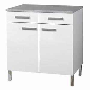 Meuble Bas 2 Portes : meuble bas 2 portes et 2 tiroirs glossy blanc ~ Dallasstarsshop.com Idées de Décoration