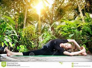 Yoga In The Tropic Garden Stock Image  Image Of Healthy