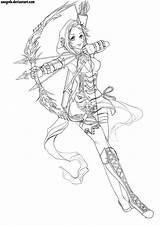 Coloriage Fantasy Drawings Coloring Fille Archer Female Anime Sketches Adult Line Sketch Wood Poses Outfit Deviantart Neko Burning Patterns Greatestcoloringbook sketch template