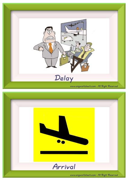 airport esl printable english flash cards worksheets