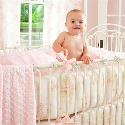 vintage style bedding sets shabby chenille crib bedding pink floral baby crib