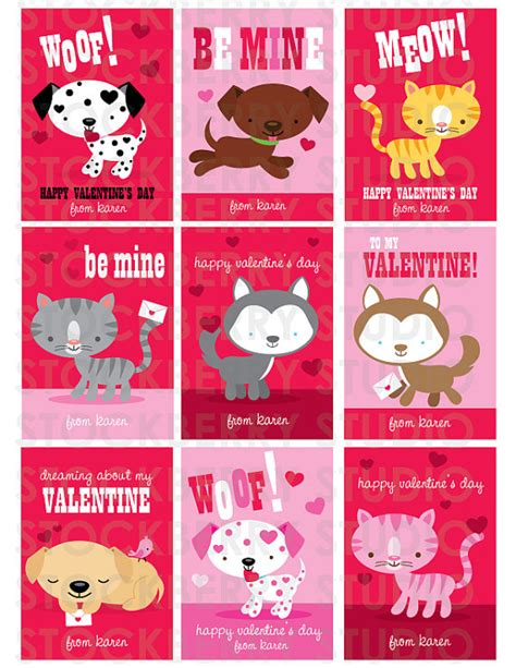 valentines day card kids dog valentines card cats card by stockberrystudio