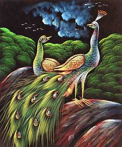 Flashing Painting Of Love Birds Peacock & Peahen In Silent