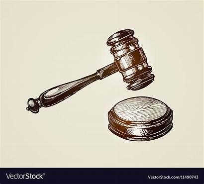 Gavel Hammer Judge Vector Sketch Auctioneer Court
