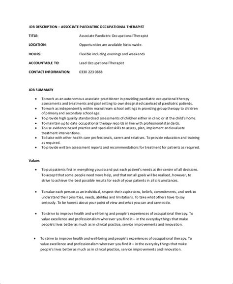 Pediatric Occupational Therapist Resume by Occupational Therapist Description Best Resumes