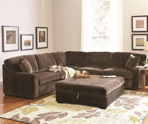 double sofas in living room l dark brown fabric sectional sofa with double cushions