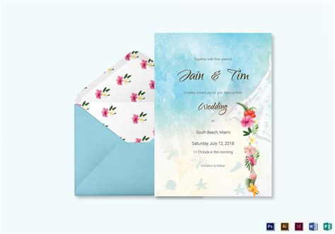 Beach Wedding Invitation Card Template In Psd, Word, Publisher, Illustrator, Indesign Make Ready Check List Making Brochures In Word A Cover Letter And Resume Your Own Powerpoint Theme Free Invoice Online Greetings Card Mammary Gland Tumours Dogs