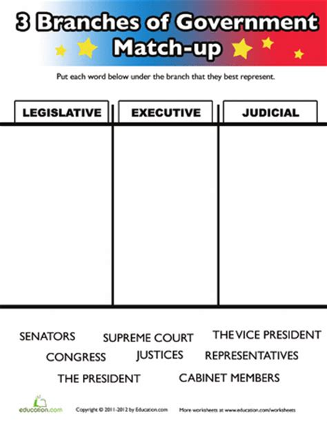 three branches of government for worksheets social