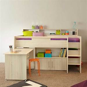 Kinderzimmer Mit Schreibtisch : kinderzimmer hochbett tierra in akazie ~ Michelbontemps.com Haus und Dekorationen