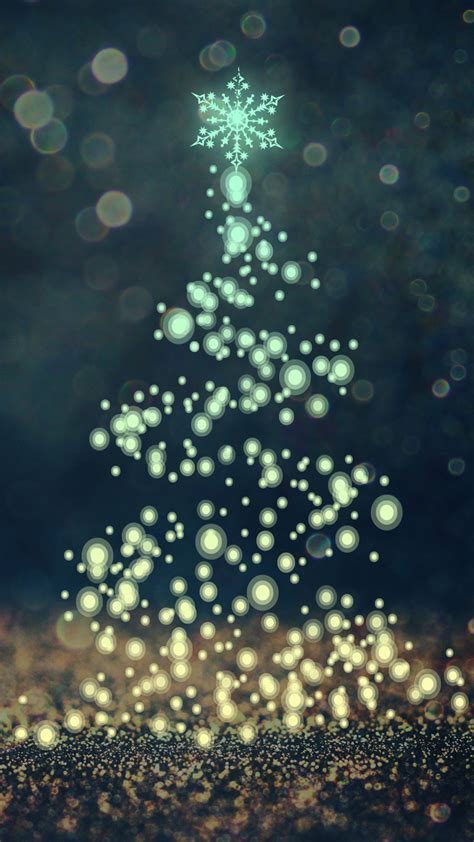 wallpaper christmas tree sparkles bokeh cgi hd