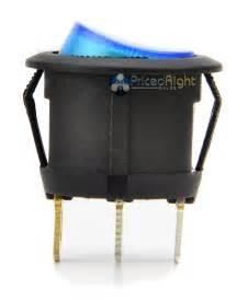 Pack Of 5 12 Volt Round 3 Prong Blue Led Rocker Switch