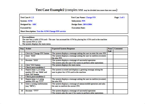 test case template   word excel  documents