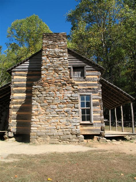 colonial log cabin stock photo image  home national