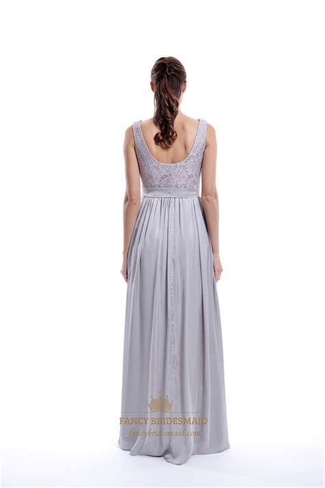light gray bridesmaid dress light grey sleeveless lace top and chiffon bottom