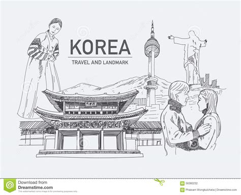 Landmarks In Korea. Stock Vector. Illustration Of Draw