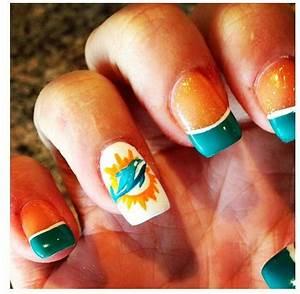 Miami dolphins nail art | Nail art | Miami dolphins nails ...