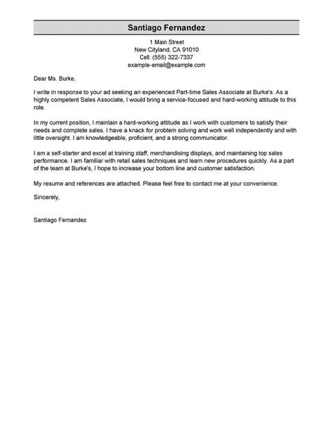 Cover Letter For Part Time by Free Part Time Sales Associates Cover Letter Exles