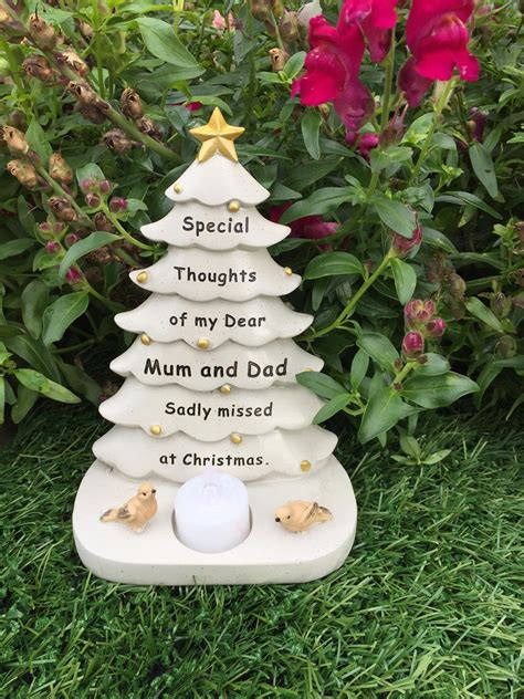 mum dad christmas tree graveside memorial ornament robin