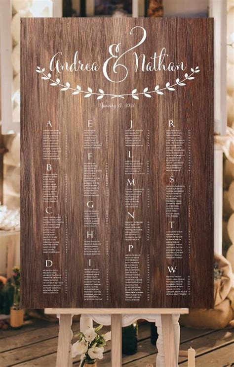 wedding seating chart poster rustic wood andrea digital wedding template shop