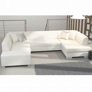 Canapé Panoramique Convertible : meuble de salon canap canape canape d angle blanc sofamobili ~ Teatrodelosmanantiales.com Idées de Décoration