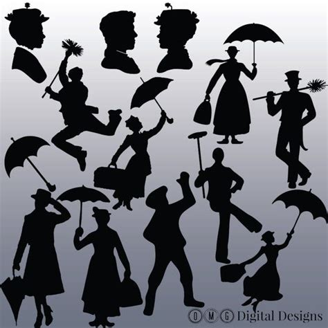 Poppins Clipart 12 Poppins Silhouette Clipart Images Clipart Design
