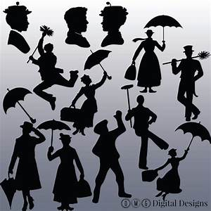 12 Mary Poppins Silhouette Clipart Images, Clipart Design ...