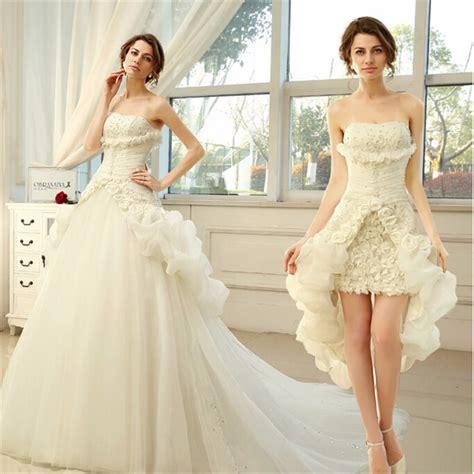 Short Wedding Dress With Detachable Train