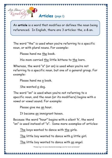 grade 3 grammar topic 34 articles worksheets lets share