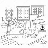 Ampel Circulation Semaforo Chauffeur Ragazzo Fahrer Umriss Väg Biltransport Bilar Förare Färgbok Färgning Fordon Trafikljus Kontur Tecknade Animé Dessin Kok sketch template