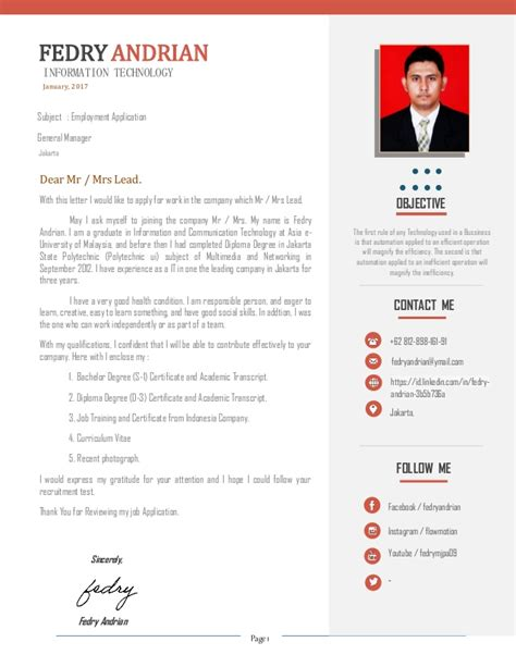 Sle Picture Of Resume by Resume Cv And Portfolio Fedry Andrian