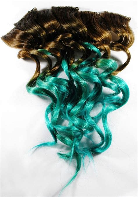 Ombre Turquoise Teal Mermaid Hair Human Hair Extensions
