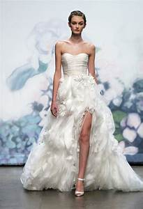 monique lhuillier ball gown wedding dress with high slit With wedding dresses with slits