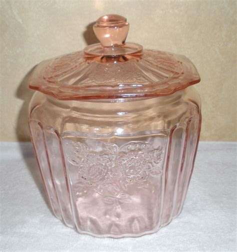 pink depression glass patterns pink depression glass biscuit jar in mayfair open rose pattern from onostalgia on ruby lane