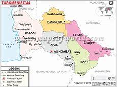 Political Map of Turkmenistan Turkmenistan Provinces Map