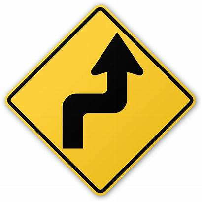 Sign Turn Road Right Zigzag Signs Curve