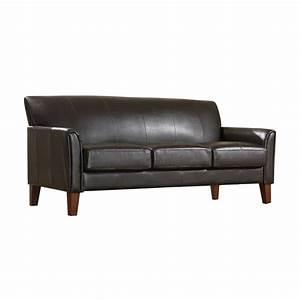 homesullivan vinyl microfiber sofa in dark brown 409913pu With sectional sofas home depot