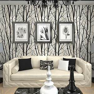 Aliexpress.com : Buy Textured Tree Forest Woods Wallpaper ...