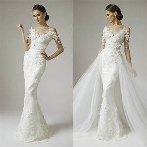 mermaid half sleeves appliques beads lace wedding dresses With slim fitting wedding dresses