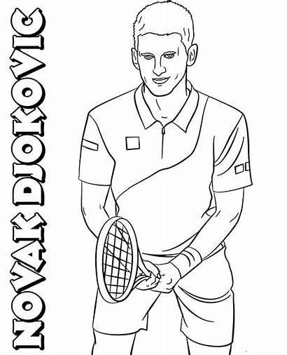 Coloring Novak Djokovic Tennis Player Sheets Players
