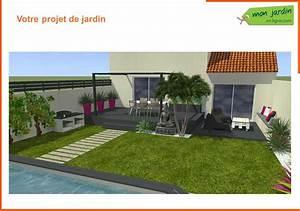 jardin contemporain dans le sud mon jardin en ligne With plan 3d maison en ligne 14 conception dun jardin en pente avec piscine mon jardin