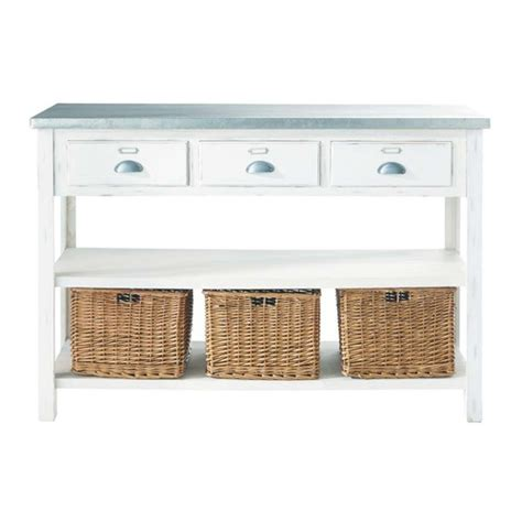 white sofa table with baskets white console table with 3 baskets sorgues maisons du monde