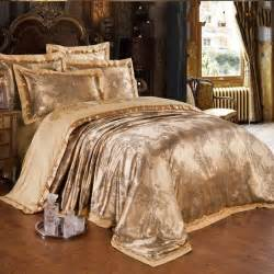gold jacquard silk comforter duvet cover king queen 4pcs luxury satin bed sheet linen bedclothes
