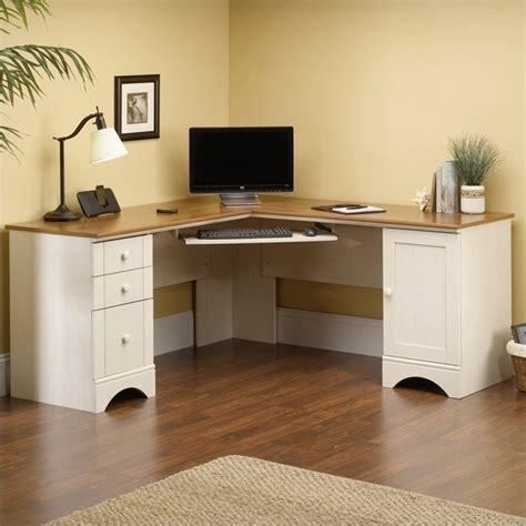white corner computer desk corner computer desk in antiqued white 403793