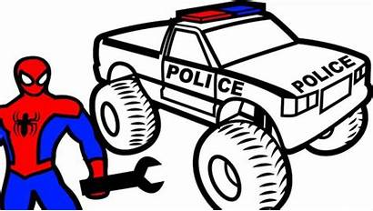 Police Monster Coloring Truck Spiderman Colouring Repair
