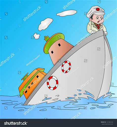 Titanic Boat Vector by Ship Sinking Captain Vector Illustration Stock Vector